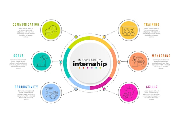 Colorful internship training infographic