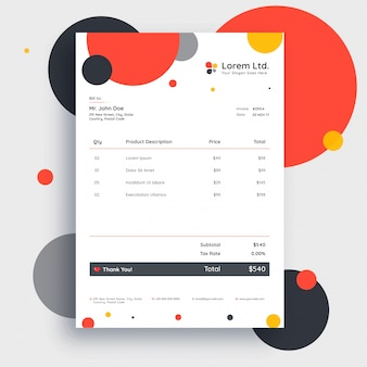 Colorful invoice template design for your business.