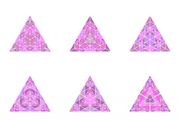 Colorful isolated triangle pyramid symbol template set