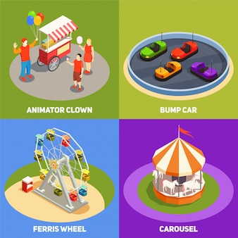 Colorful isometric 2x2 design concept with clowns carousel bump cards ferris wheel in amusement park 3d isolated