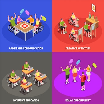 Colorful isometric 2x2 icons set with people at school with inclusive education 3d isolated