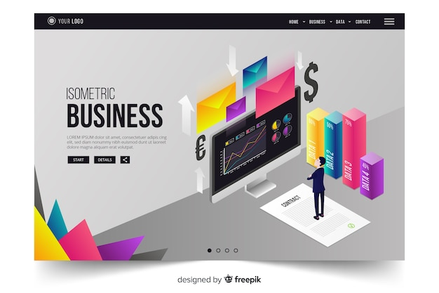 Colorful isometric business landing page