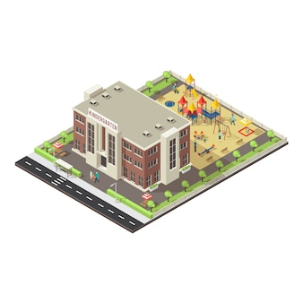 Colorful isometric children playground concept