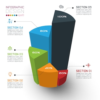 Colorful isometric cylinders of infographic template
