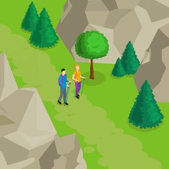 カラフルな等尺性ハイキングテンプレート