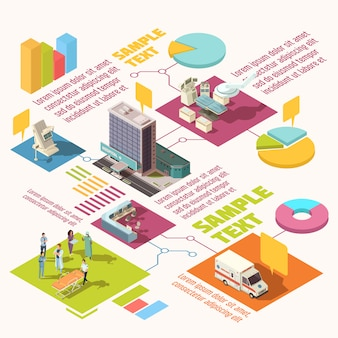 Colorful isometric hospital infographics with sample text