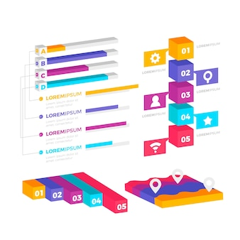 Colorful isometric infographic collection
