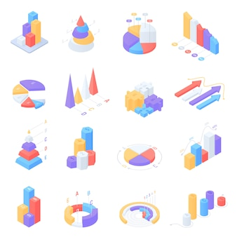 Colorful isometric infographic elements set
