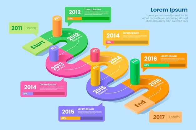Colorful isometric infographic with details