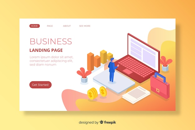 Colorful isometric marketing landing page