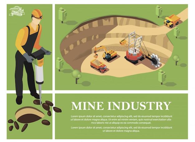Красочный состав изометрической горнодобывающей промышленности с шахтером, держащим перфоратор и промышленные машины, добывающие минералы в карьере