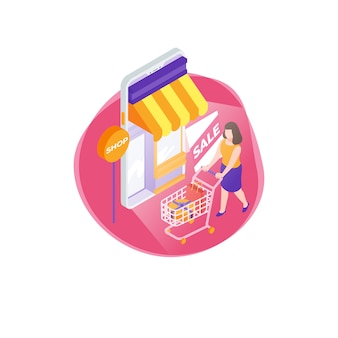 Colorful isometric online shop