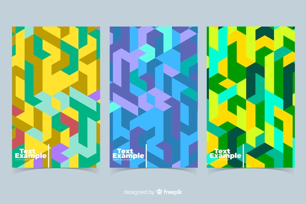 Colorful isometric pattern brochure pack