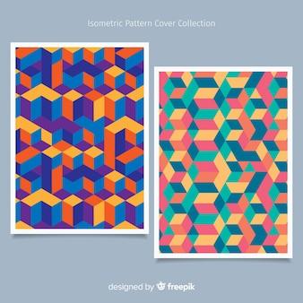 カラフルなアイソメトリックパターンのパンフレットパック