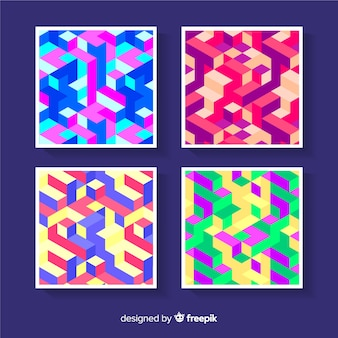Colorful isometric pattern cover pack