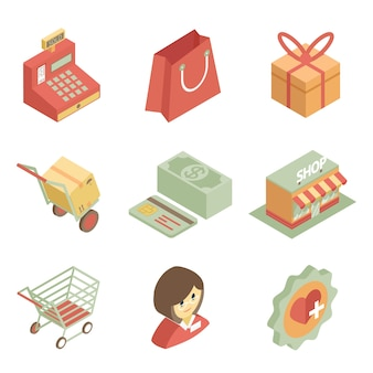 Icone dello shopping isometriche colorate per negozio o supermercato su priorità bassa bianca