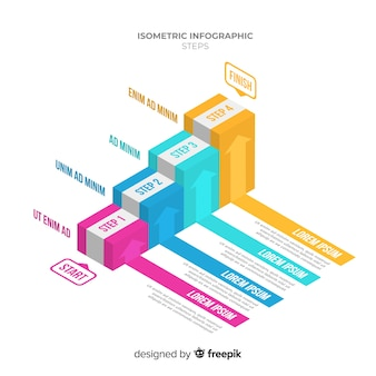Colorful isometric stair infographics template
