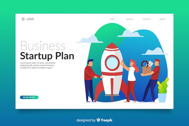 Colorful isometric startup landing page template