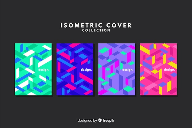 Colorful isometric style cover collection