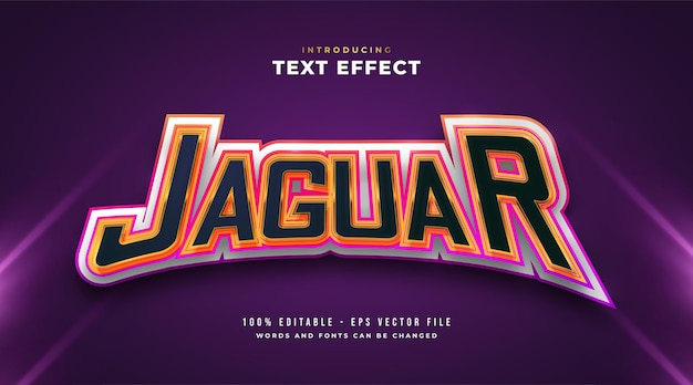Colorful jaguar text in e-sport style effect. editable text style effect
