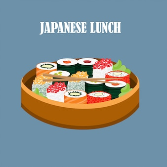 Colorful japanese food concept