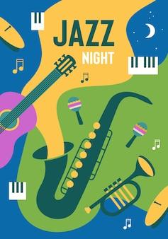 음악 축제 초대 텍스트를 위한 장소가 있는 다채로운 재즈 밤 포스터 디자인 템플릿