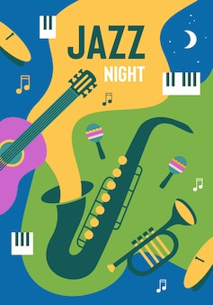 Colorful jazz night poster design template with place for your text invitation for music festival