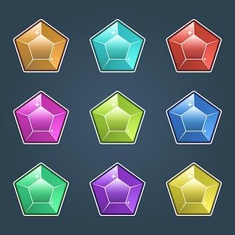 Набор красочных драгоценностей, драгоценные камни и значки бриллиантов изолированы, плоский дизайн разных цветов.