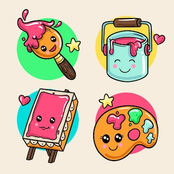 Colorful kawaii creativity collection
