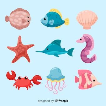 화려한 귀엽다 바다 동물 모음