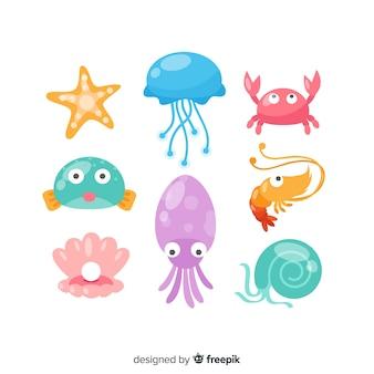 Colorful kawaii sea animals collection