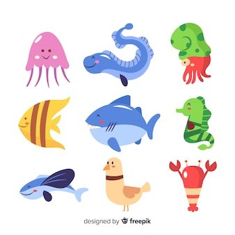 Colorful kawaii sea animals collection