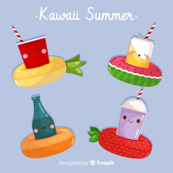 Colorful kawaii summer cocktails collection