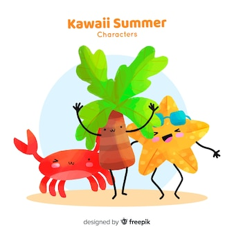 Colorful kawaii summer elements collection