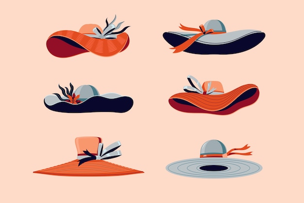 Colorful kentucky derby hats set illustration