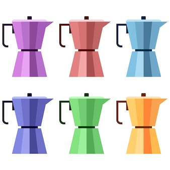 Colorful kettle heater coffee element icon game asset flat illustration