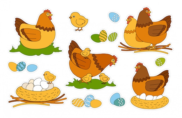 Colorful kids easter happy holiday sticker pack with colored and ornamented eggs, chicks, chicken walking with chicks, brood hen sitting on the nestle. domestic birds. cut and glue children game.