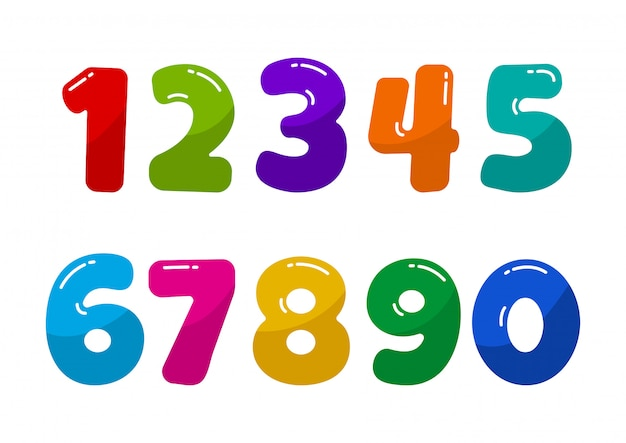 Colorful kids font numbers from 1 to 0.  illustration