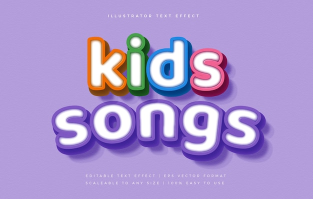 Colorful kids fun text style font effect