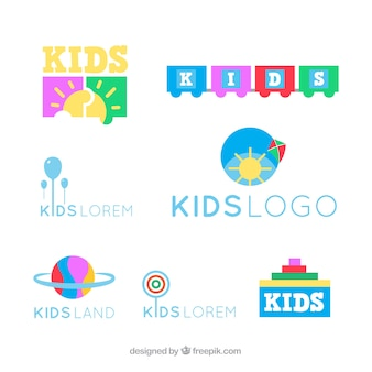 Colorful kids logo collection
