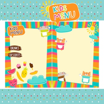 Colorful kids meal menu template
