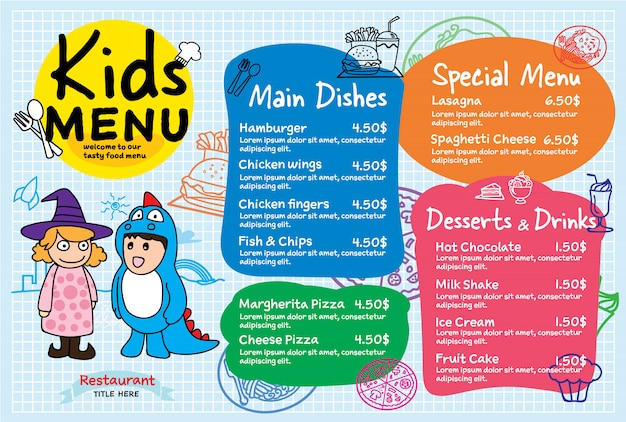 Colorful kids meal menu