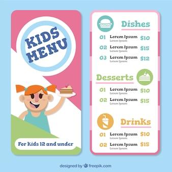 Colorato bambini modello di menu