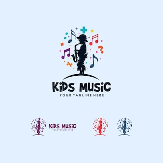 Colorful of kids playing music logo design