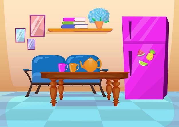 青いソファとカラフルなキッチンのインテリア。漫画イラスト