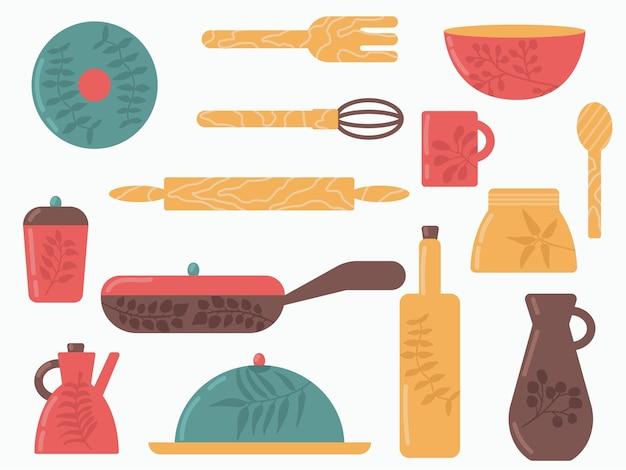 Красочные элементы посуды на белом фоне векторные иллюстрации