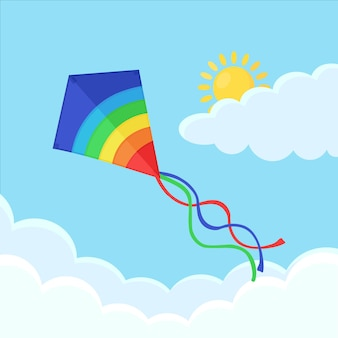 Colorful kite fly in blue sky with clouds illustration