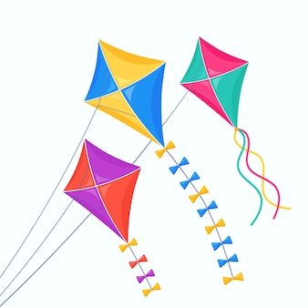 Colorful kite fly in sky isolated on white