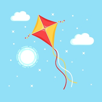 Colorful kite flying in blue sky, sun isolated on background
