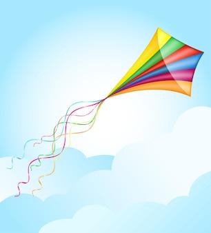 Красочный воздушный змей, летящий в небе векторные иллюстрации, изолированные на белом фоне